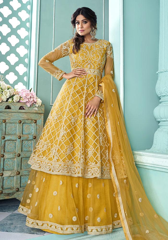 Yellow Embroidered  Lehenga Anarkali
