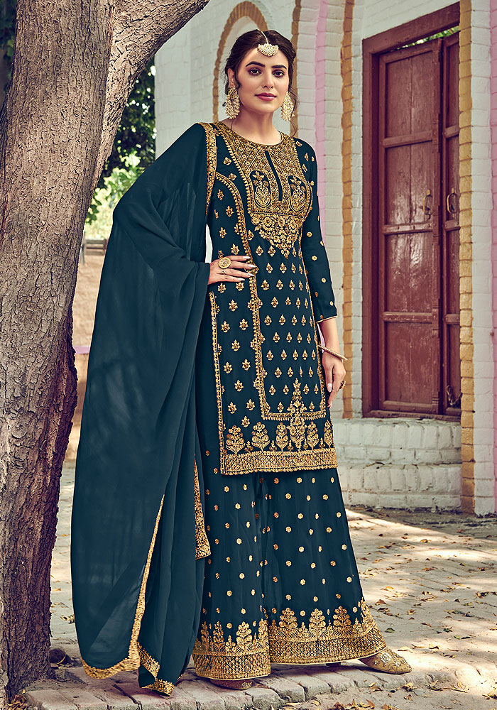 Blue Grey Embroidered Palazzo Suit