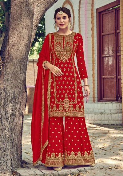 Red Embroidered Palazzo Suit