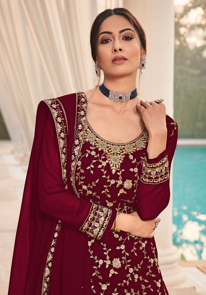Maroon Embroidered Palazzo Suit