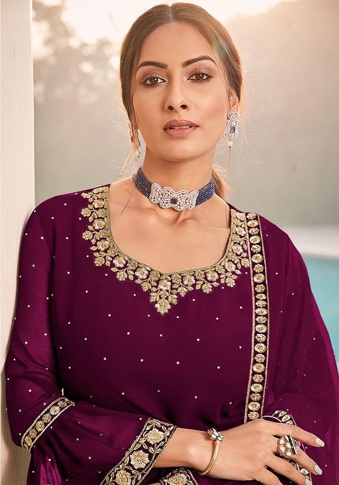 Purple Embroidered Gharara Suit