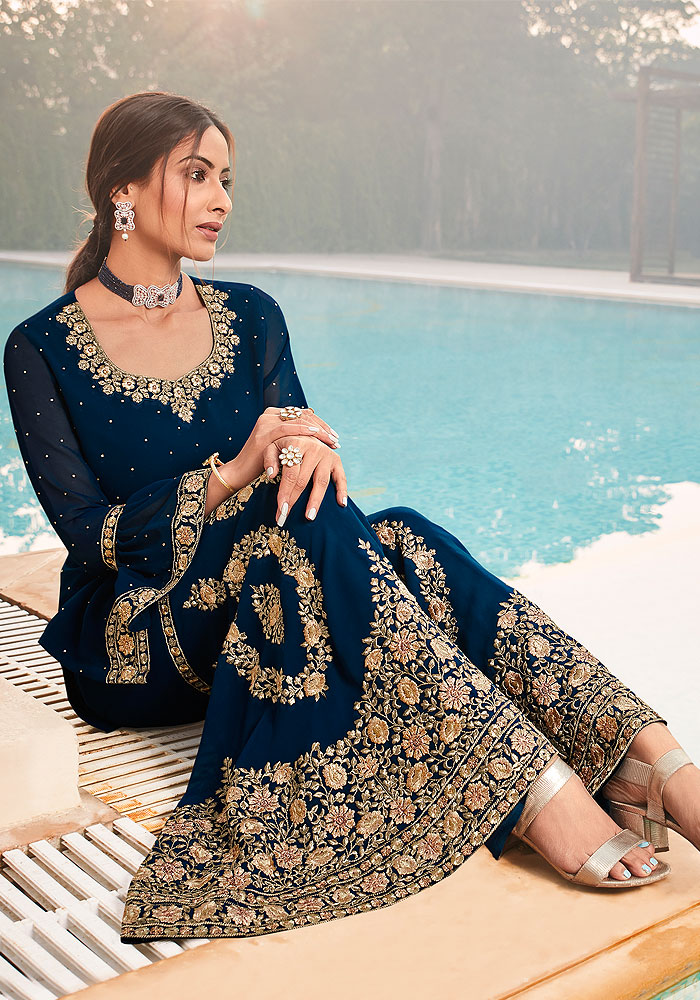 Blue Embroidered Gharara Suit