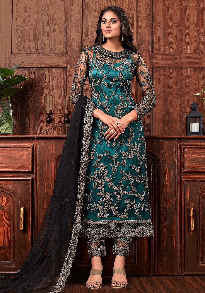 Teal Embroidered Pant Style Suit