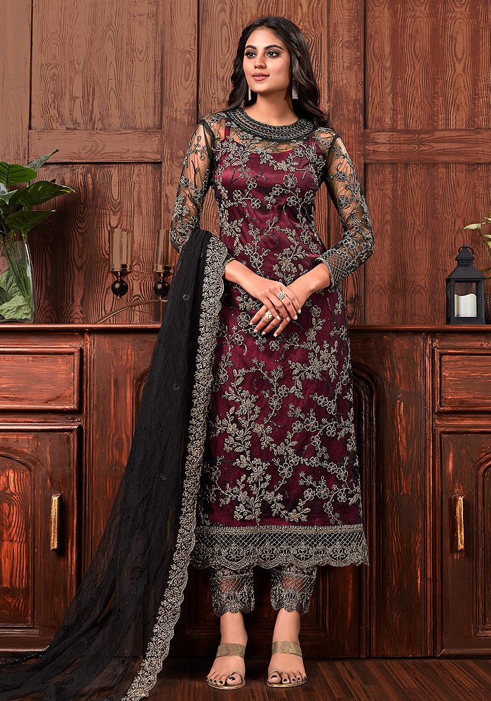 Maroon Embroidered Pant Style Suit