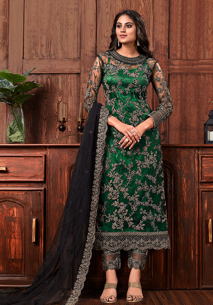 Green Embroidered Pant Style Suit