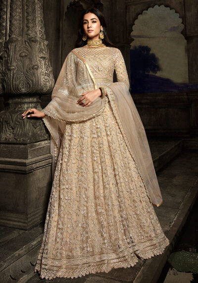 Golden Beige Embroidered Anarkali