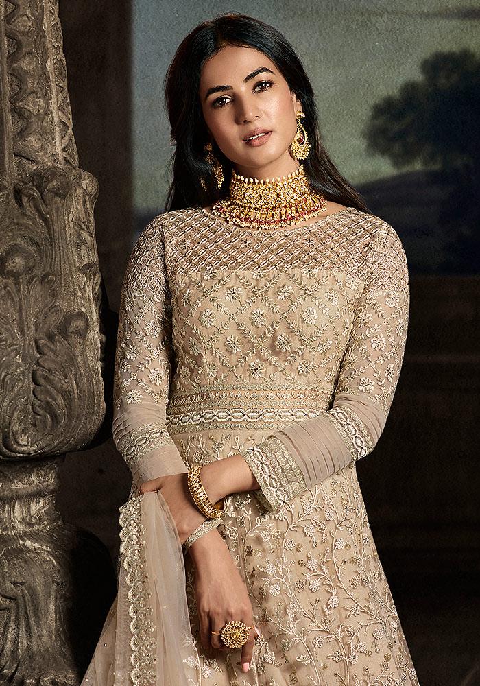 Golden Beige Embroidered Anarkali