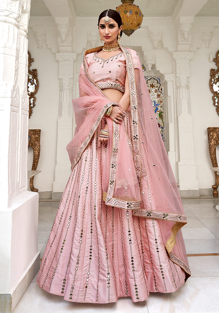 Pink Mirror Embroidered Lehenga