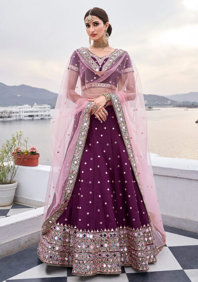 Wine Mirror Embroidered Lehenga