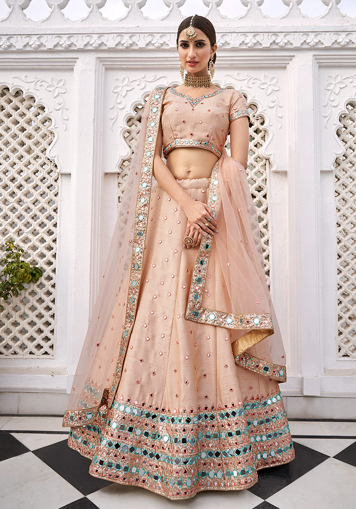 Peach Mirror Embroidered Lehenga