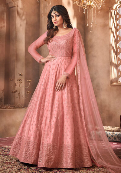 Pink Embroidered Net Anarkali