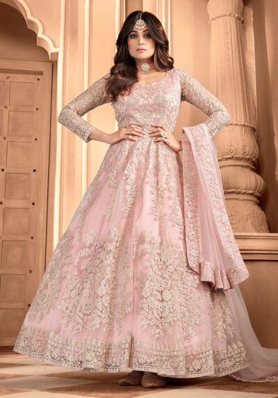 Light Pink Embroidered Net Anarkali