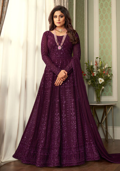 Wine Heavy Embroidered Anarkali