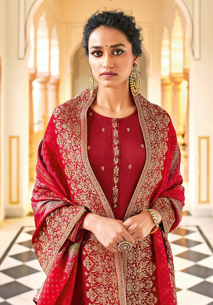 Red Embroidered Pant Style Suit