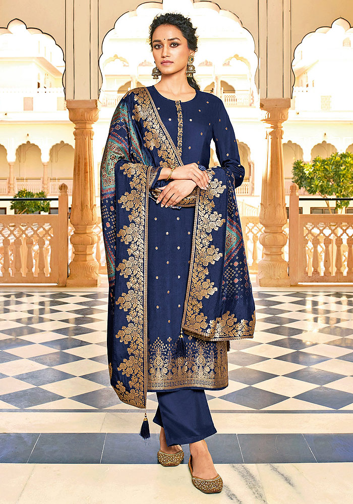Blue Embroidered Pant Style Suit