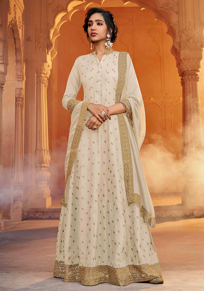 Offwhite and Gold Embroidered Anarkali