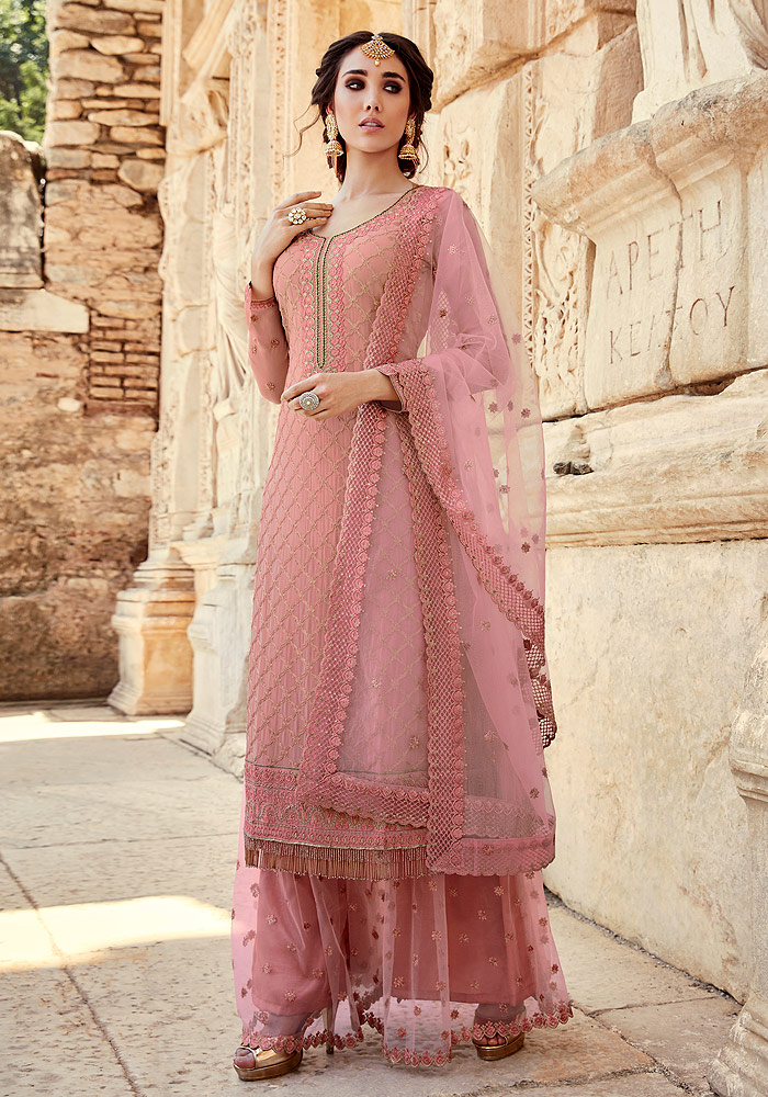 Light Pink Embroidered Palazzo Suit