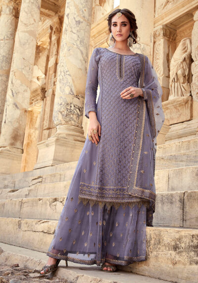Light Blue Embroidered Palazzo Suit