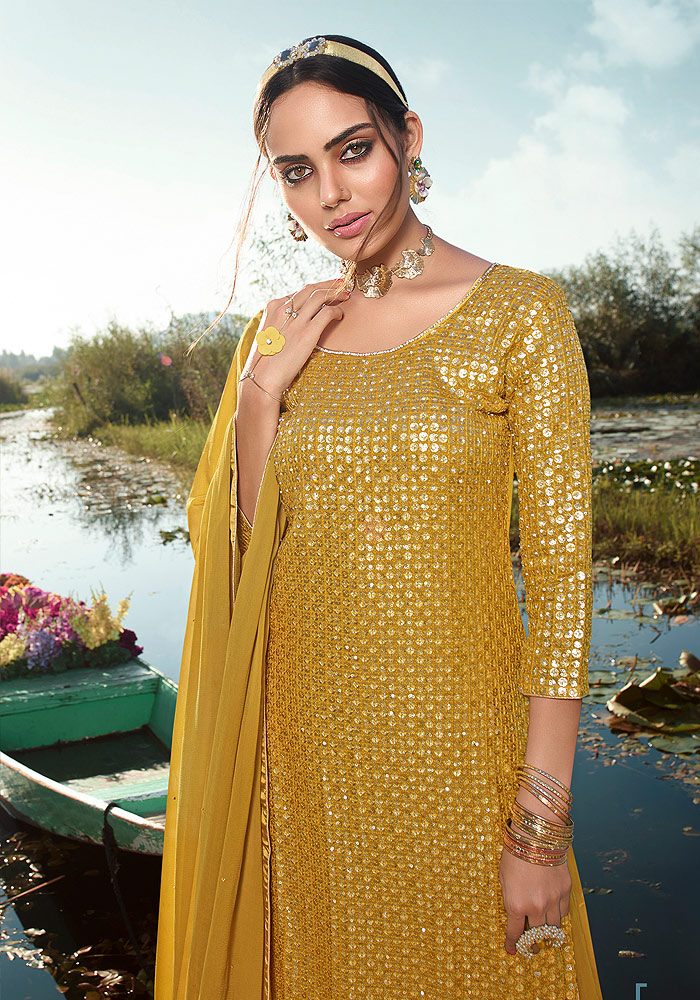 Golden Yellow Embroidered Palazzo Suit