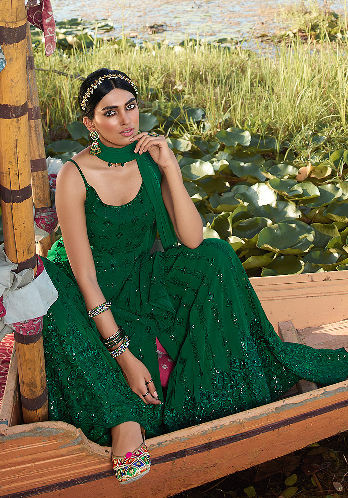 Green Embroidered Palazzo Suit