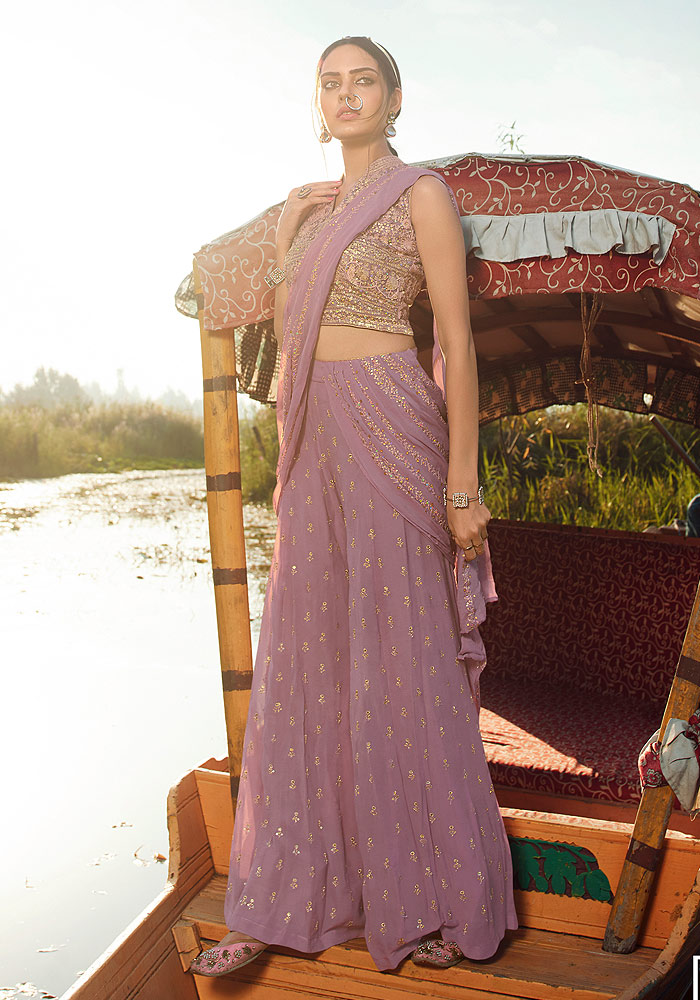 Pink Embroidered Saree Style Palazzo Suit