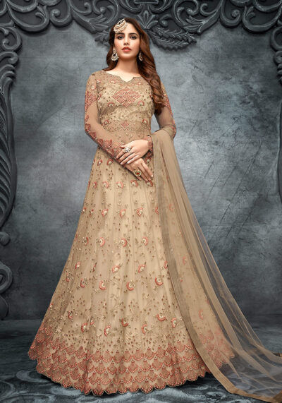 Beige Floral Embroidered Lehenga Anarkali