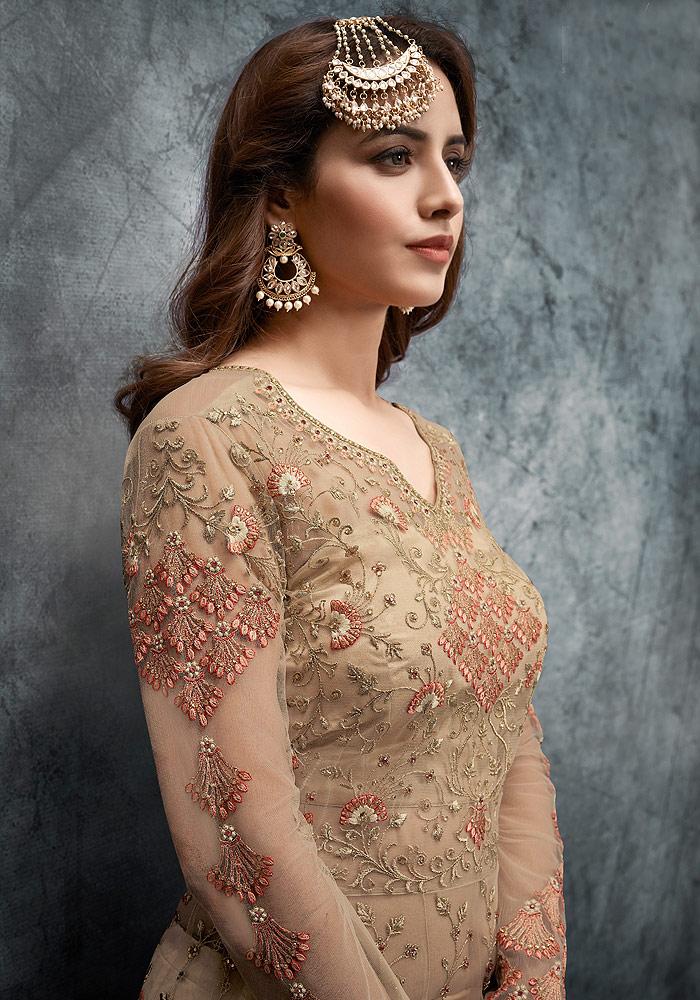 Beige Floral Embroidered Lehenga Anarkali