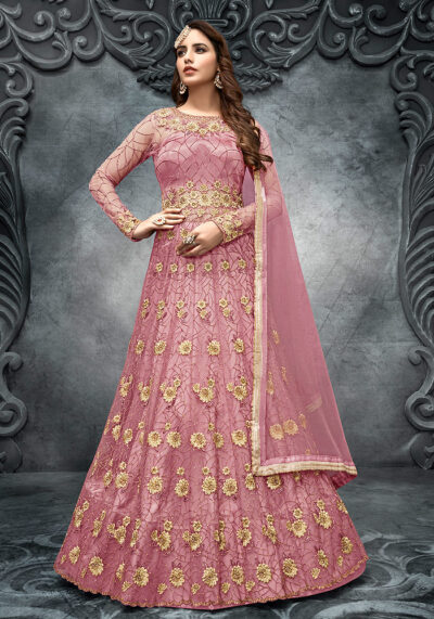 Pink Floral Embroidered Lehenga Anarkali