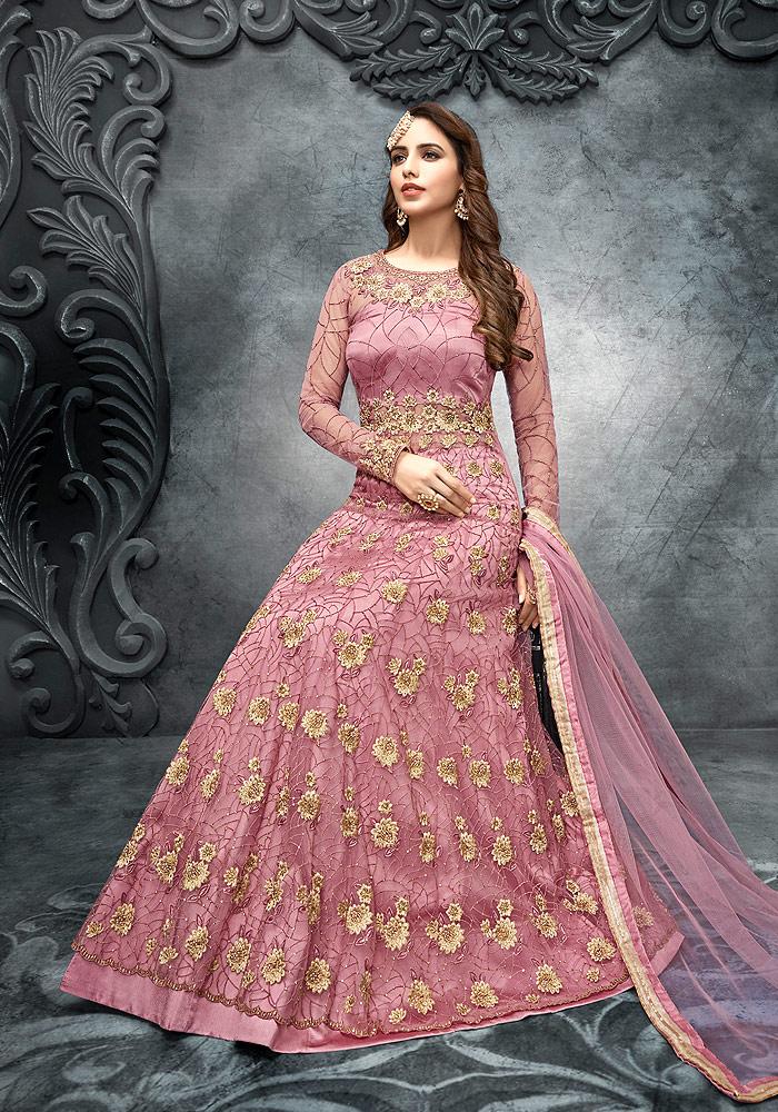 Pink Floral Embroidered Lehenga Anarkali
