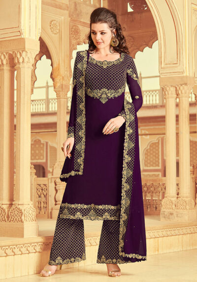 Purple Embroidered Palazzo Suit
