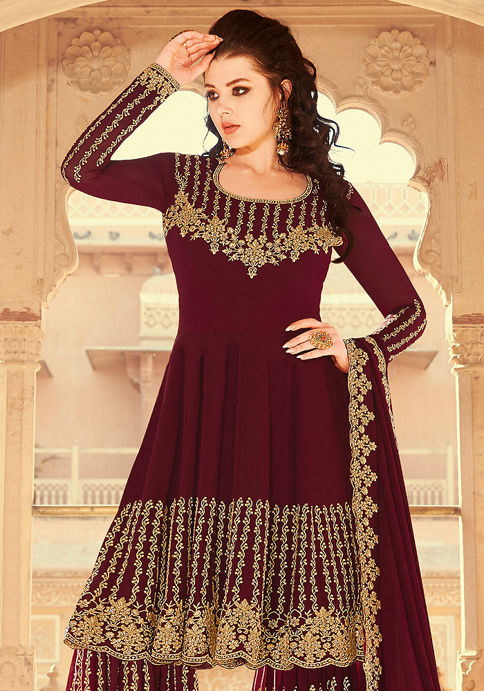 Maroon Embroidered Gharara Suit