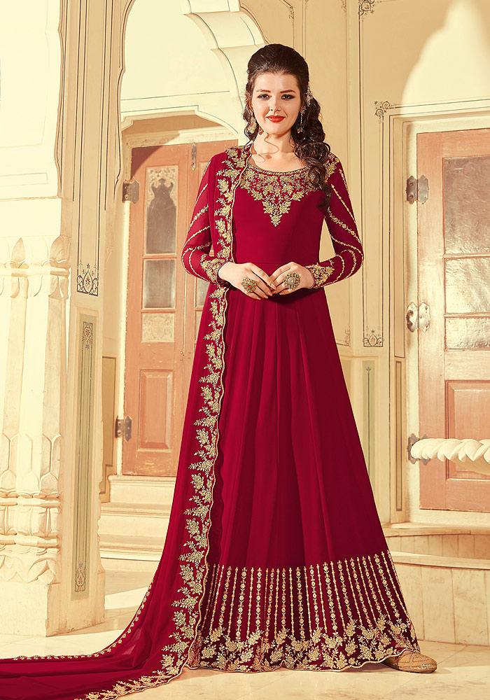 Red Embroidered Anarkali
