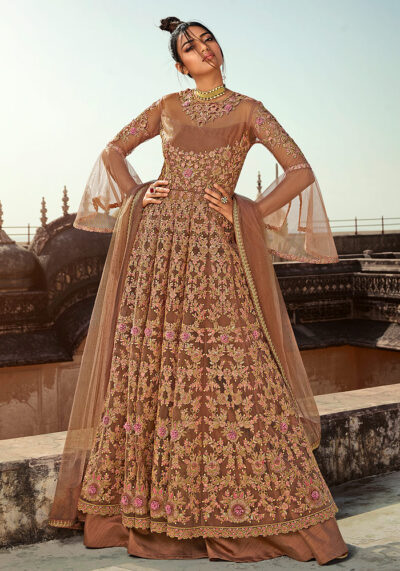 Beige and Gold Embroidered Lehenga + Pant Style Suit