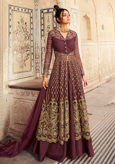 Radiant Wine Embroidered Lehenga + Pant Style Suit
