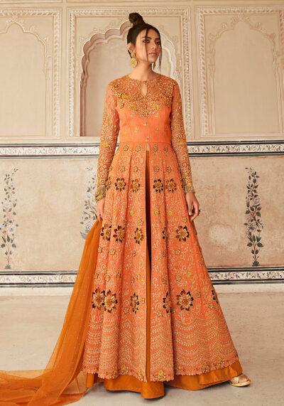 Peach Orange Embroidered Lehenga Anarkali