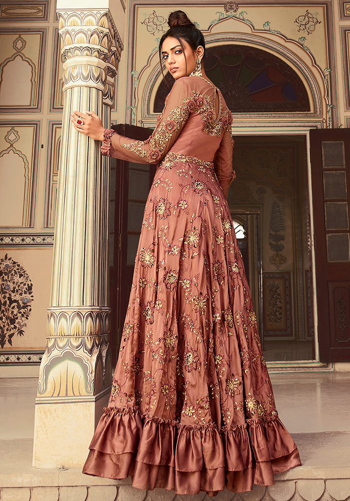 Rust Pink Floral Embroidered Anarkali
