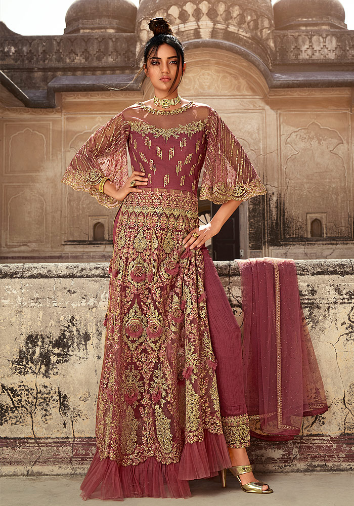 Rose Pink Embroidered Lehenga + Pant Style Suit