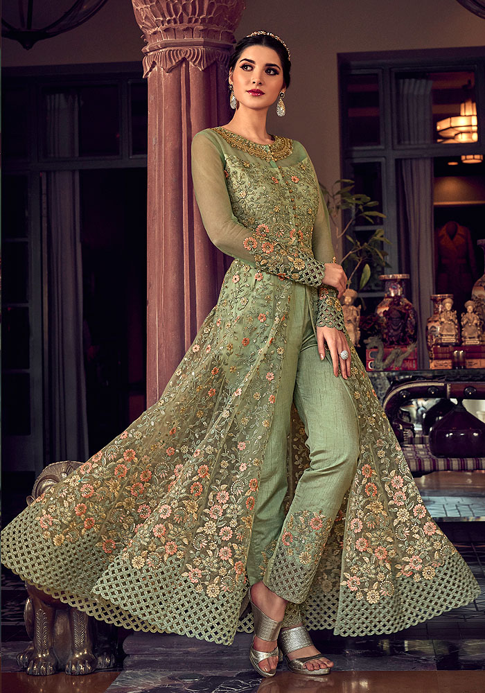 Green Floral Embroidered Lehenga/ Pant Style Suit