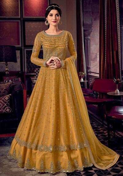 Golden Yellow Embroidered Lehenga Anarkali