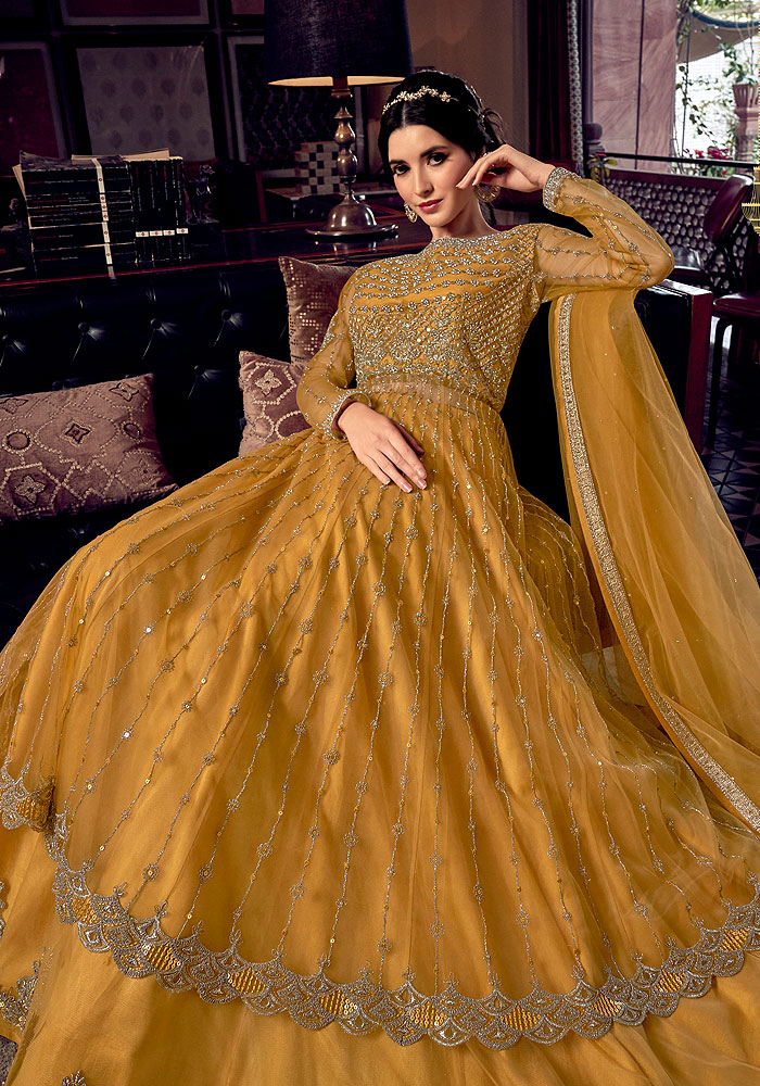 Golden Yellow Embroidered Lehenga Anarkali