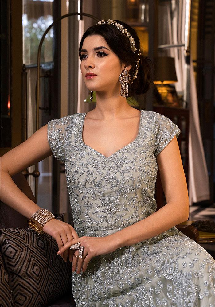 Grey Heavy Embroidered Anarkali