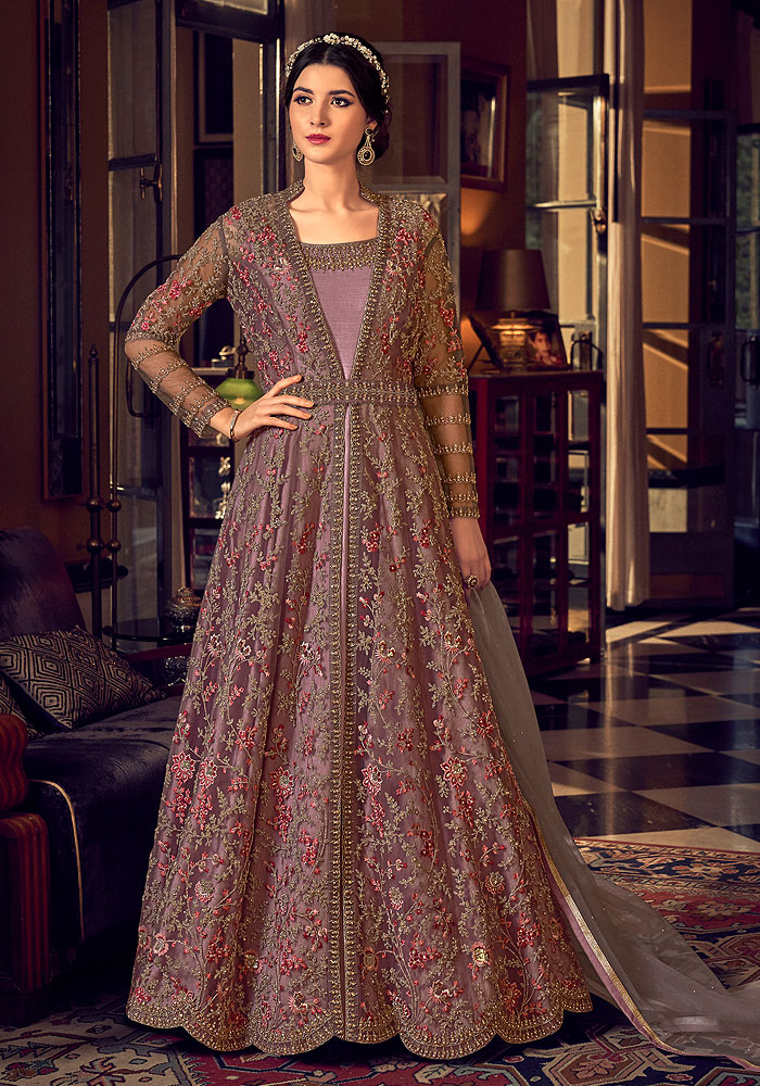 Mauve Pink Heavy Embroidered Anarkali