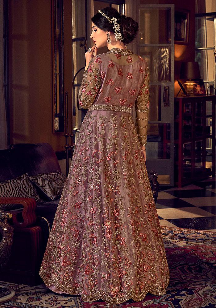 Mauve Pink Heavy Embroidered Anarkali