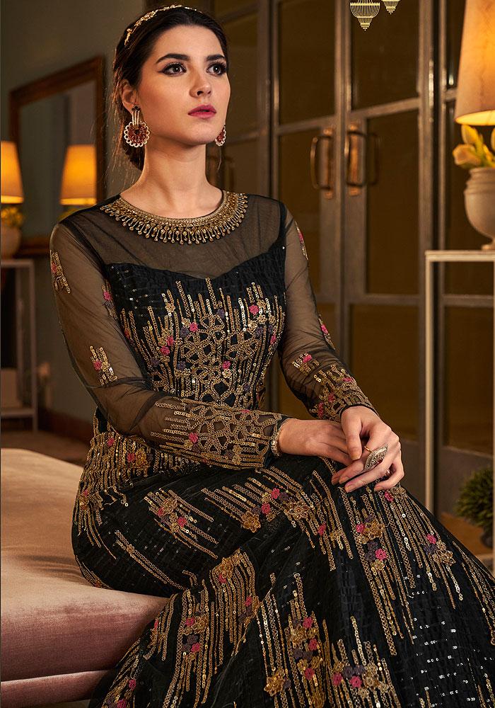 Black Heavy Embroidered Anarkali