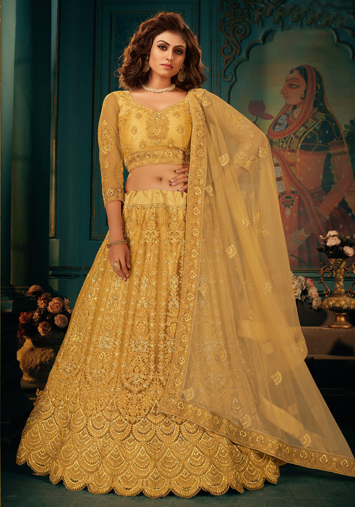 Yellow Heavy Embroidered Lehenga