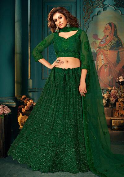 Green Heavy Embroidered Lehenga