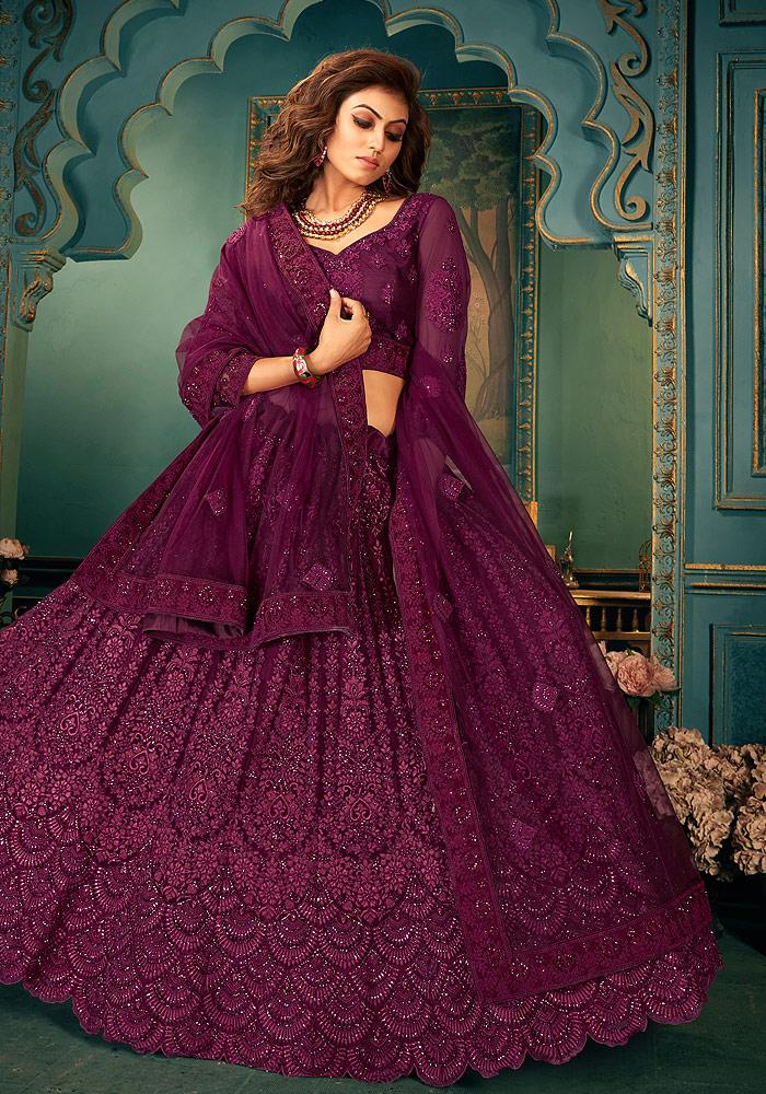 Purple Heavy Embroidered Lehenga