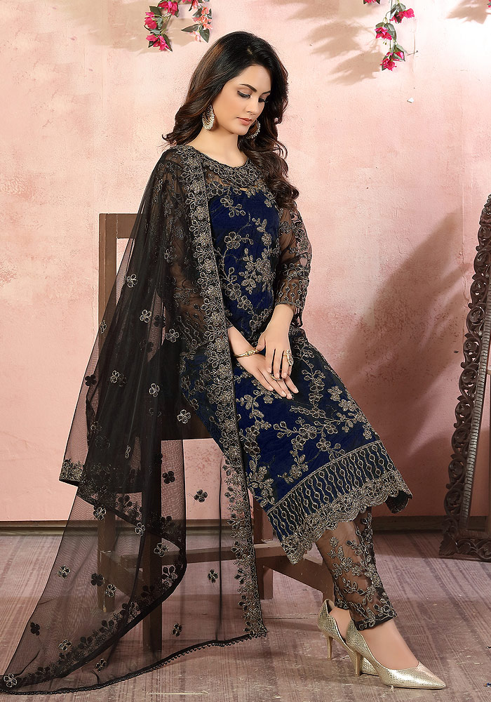 Blue Embroidered Pant Suit