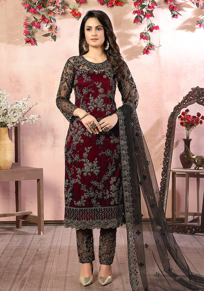 Maroon Embroidered Pant Suit