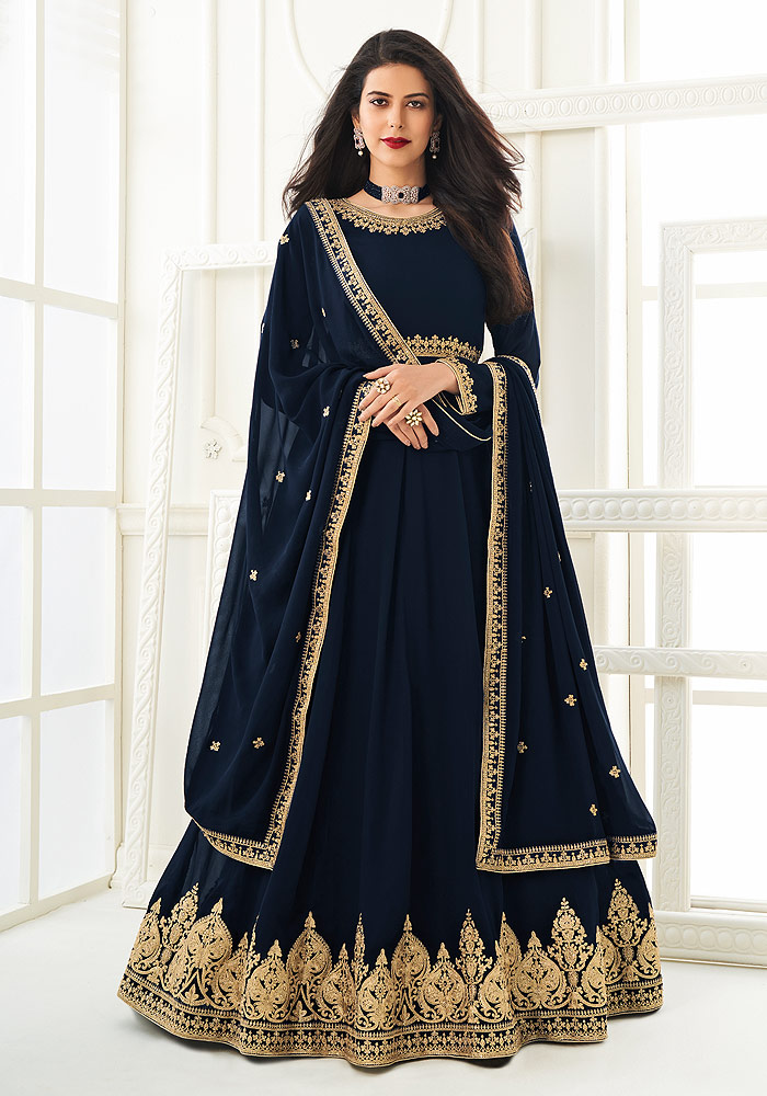 Blue Embroidered Anarkali